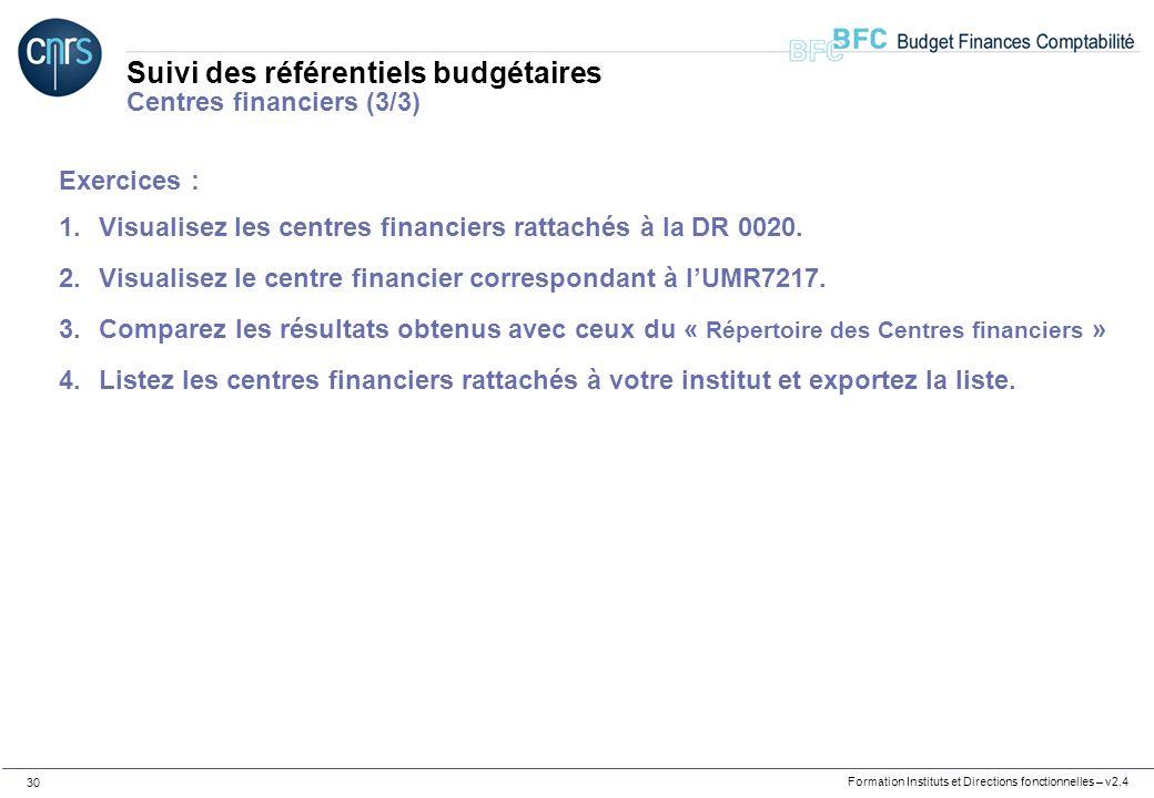 Suivi des référentiels budgétaires Centres financiers (3/3)