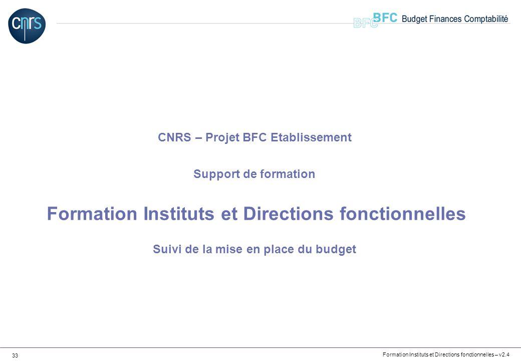 CNRS – Projet BFC Etablissement Support de formation Formation Instituts et Directions fonctionnelles Suivi de la mise en place du budget