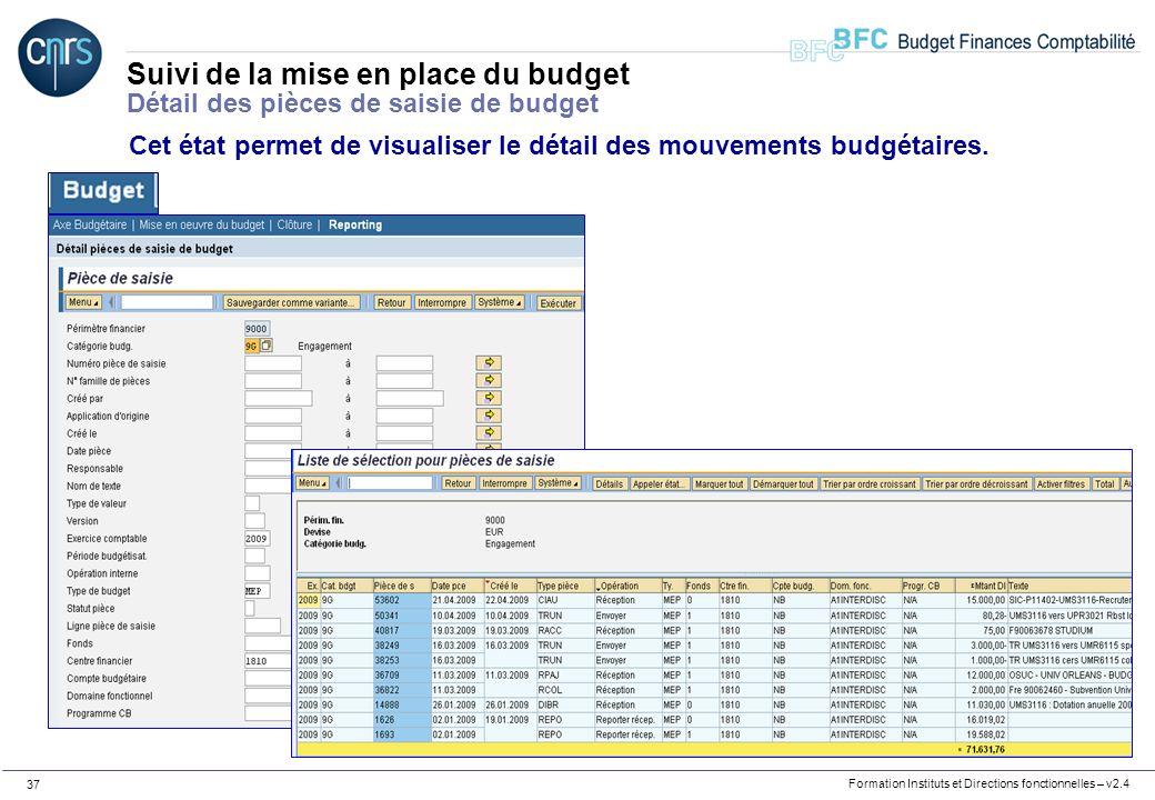 Suivi de la mise en place du budget Détail des pièces de saisie de budget