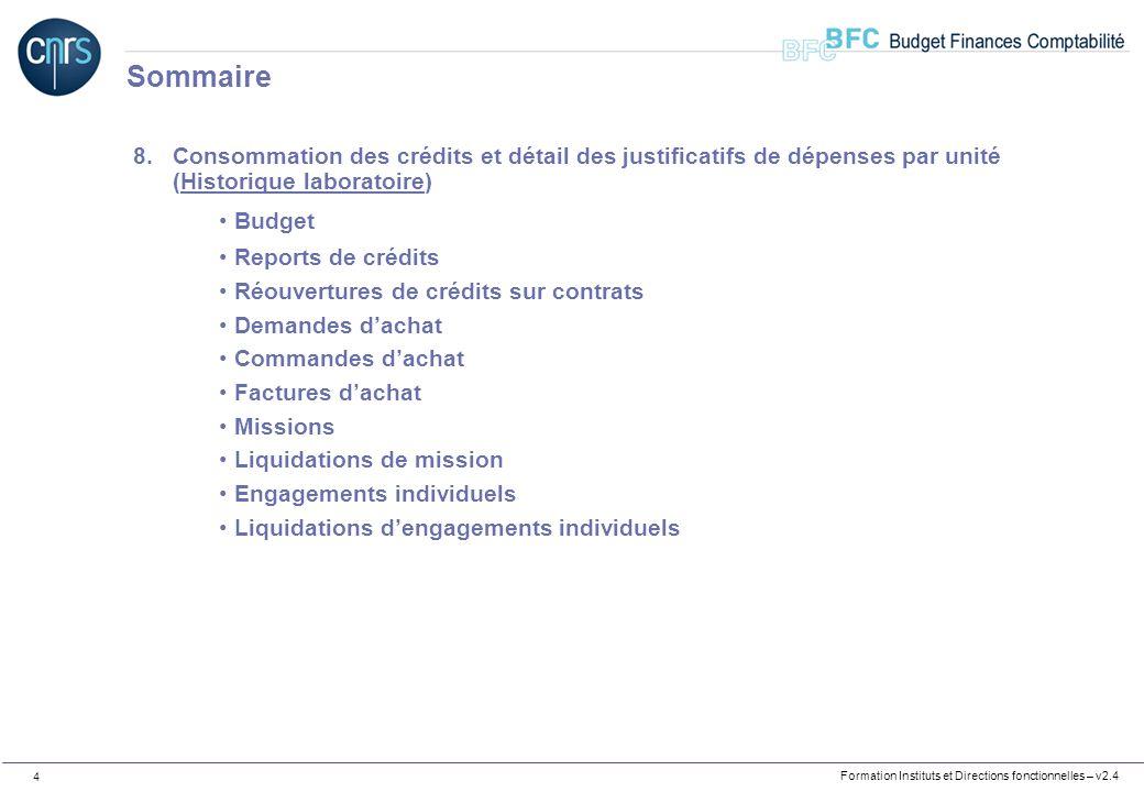 Sommaire Consommation des crédits et détail des justificatifs de dépenses par unité (Historique laboratoire)
