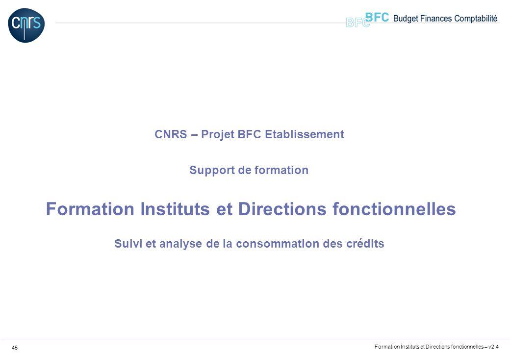 CNRS – Projet BFC Etablissement Support de formation Formation Instituts et Directions fonctionnelles Suivi et analyse de la consommation des crédits