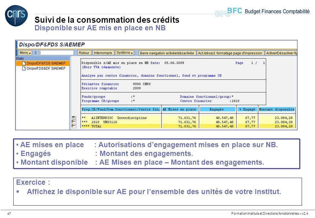 Suivi de la consommation des crédits Disponible sur AE mis en place en NB
