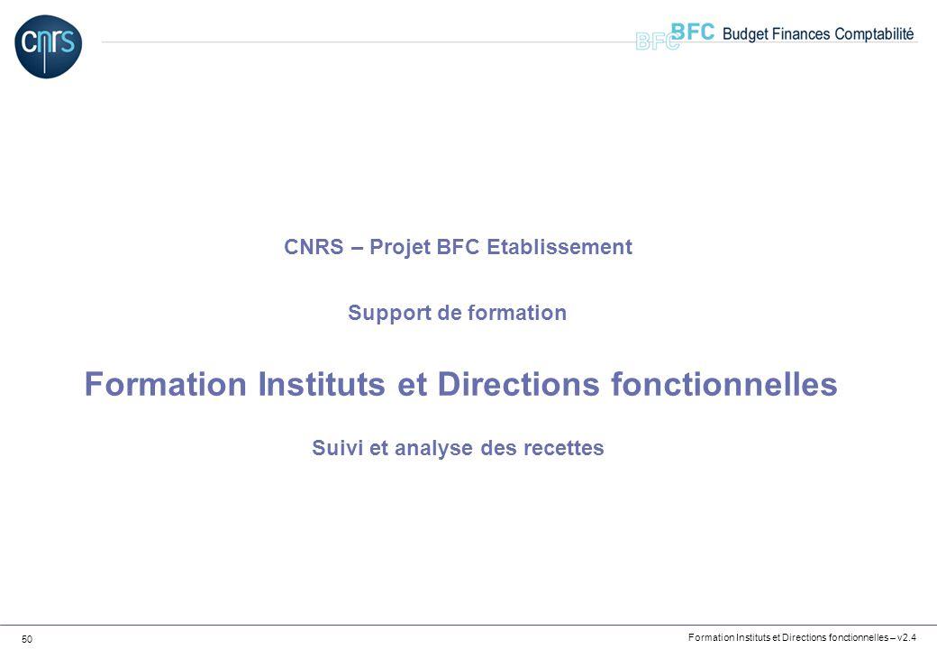 CNRS – Projet BFC Etablissement Support de formation Formation Instituts et Directions fonctionnelles Suivi et analyse des recettes
