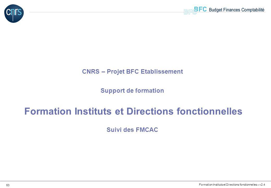 CNRS – Projet BFC Etablissement Support de formation Formation Instituts et Directions fonctionnelles Suivi des FMCAC