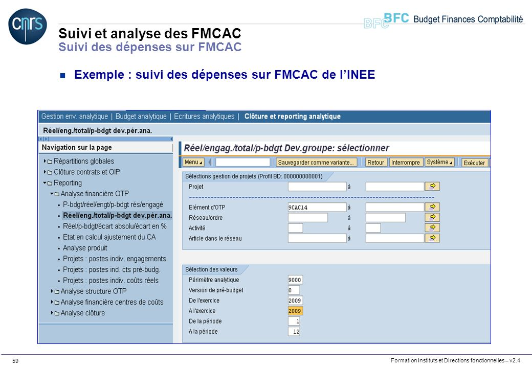 Suivi et analyse des FMCAC Suivi des dépenses sur FMCAC