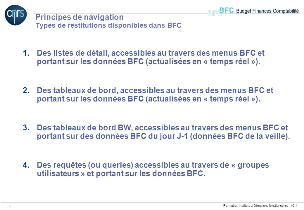 Principes de navigation Types de restitutions disponibles dans BFC