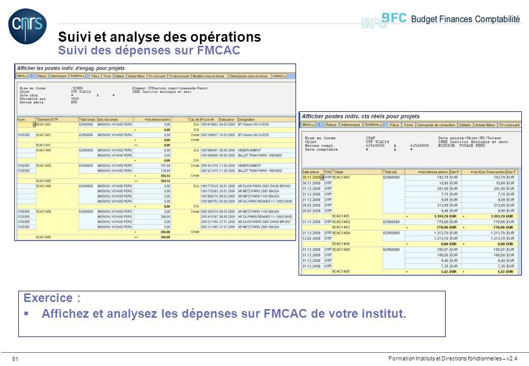 Suivi et analyse des opérations Suivi des dépenses sur FMCAC