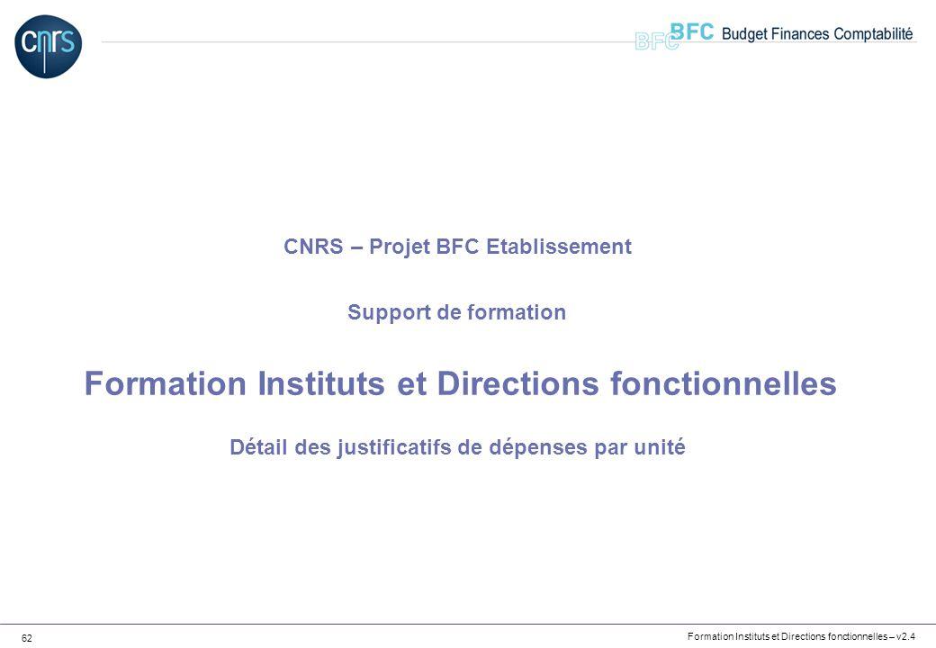 CNRS – Projet BFC Etablissement Support de formation Formation Instituts et Directions fonctionnelles Détail des justificatifs de dépenses par unité