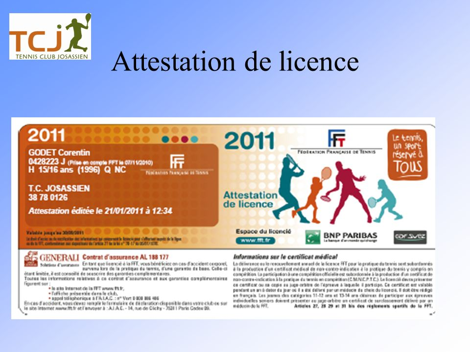 Attestation de licence