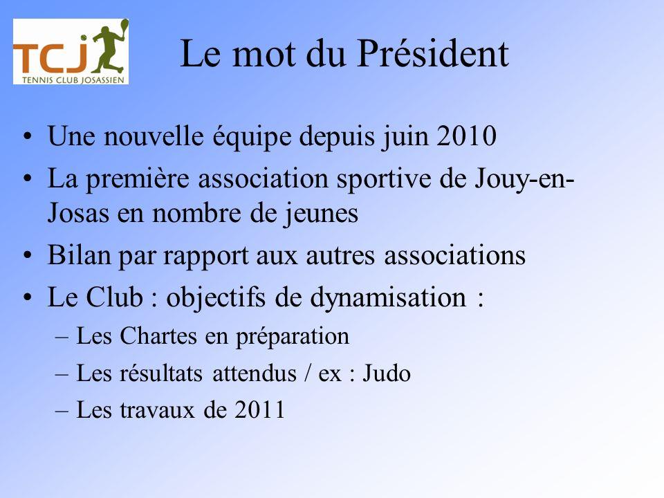 Le mot du Président Une nouvelle équipe depuis juin 2010