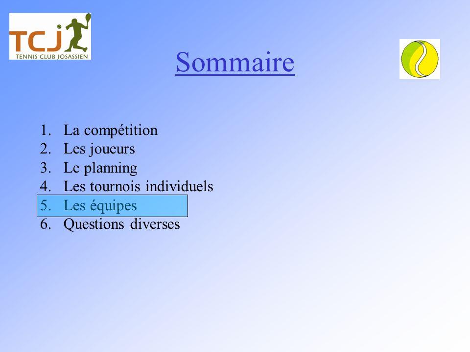 Sommaire La compétition Les joueurs Le planning