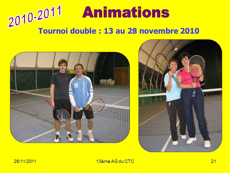 2010-2011 Animations Tournoi double : 13 au 28 novembre 2010