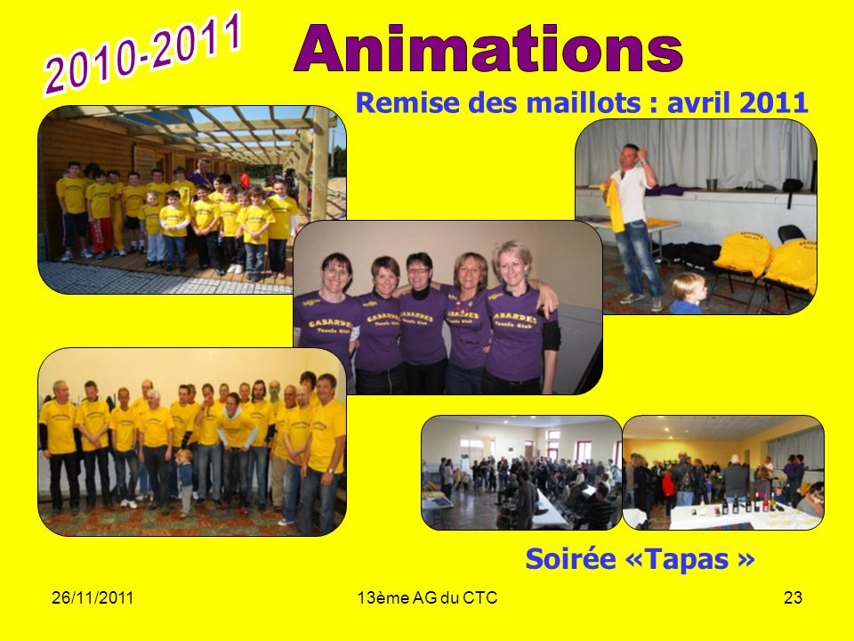 2010-2011 Animations Remise des maillots : avril 2011 Soirée «Tapas »