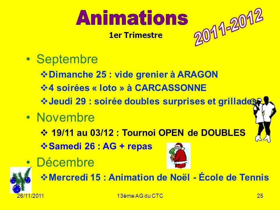 Animations 2011-2012 Septembre Novembre Décembre