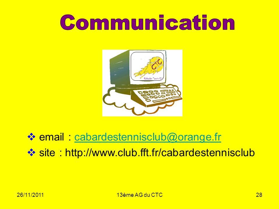 Communication email : cabardestennisclub@orange.fr. site : http://www.club.fft.fr/cabardestennisclub.