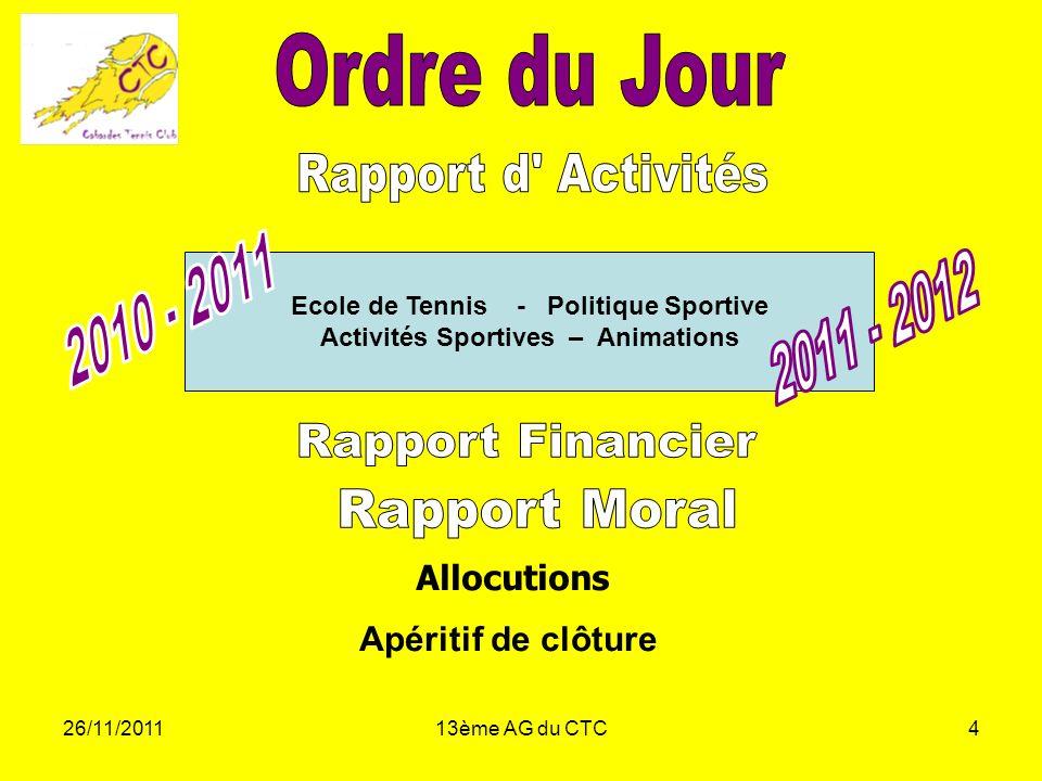 Ecole de Tennis - Politique Sportive Activités Sportives – Animations
