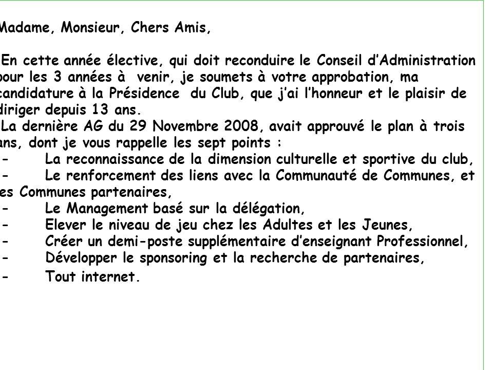 Madame, Monsieur, Chers Amis,