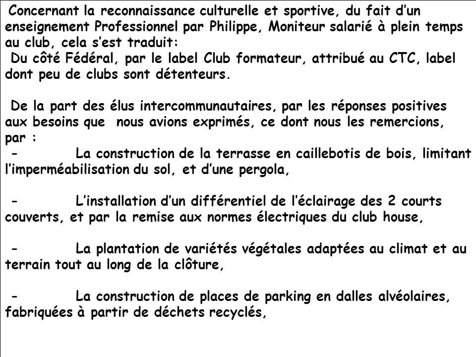 Concernant la reconnaissance culturelle et sportive, du fait d'un enseignement Professionnel par Philippe, Moniteur salarié à plein temps au club, cela s'est traduit: