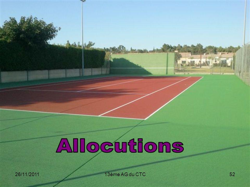 Allocutions 26/11/2011 13ème AG du CTC