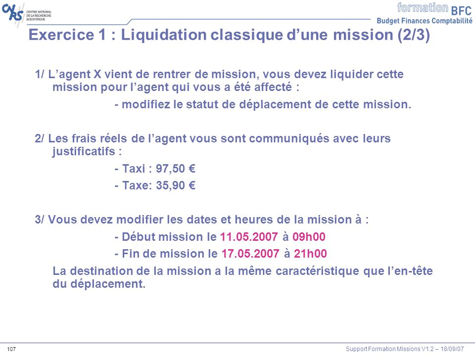 Exercice 1 : Liquidation classique d'une mission (2/3)