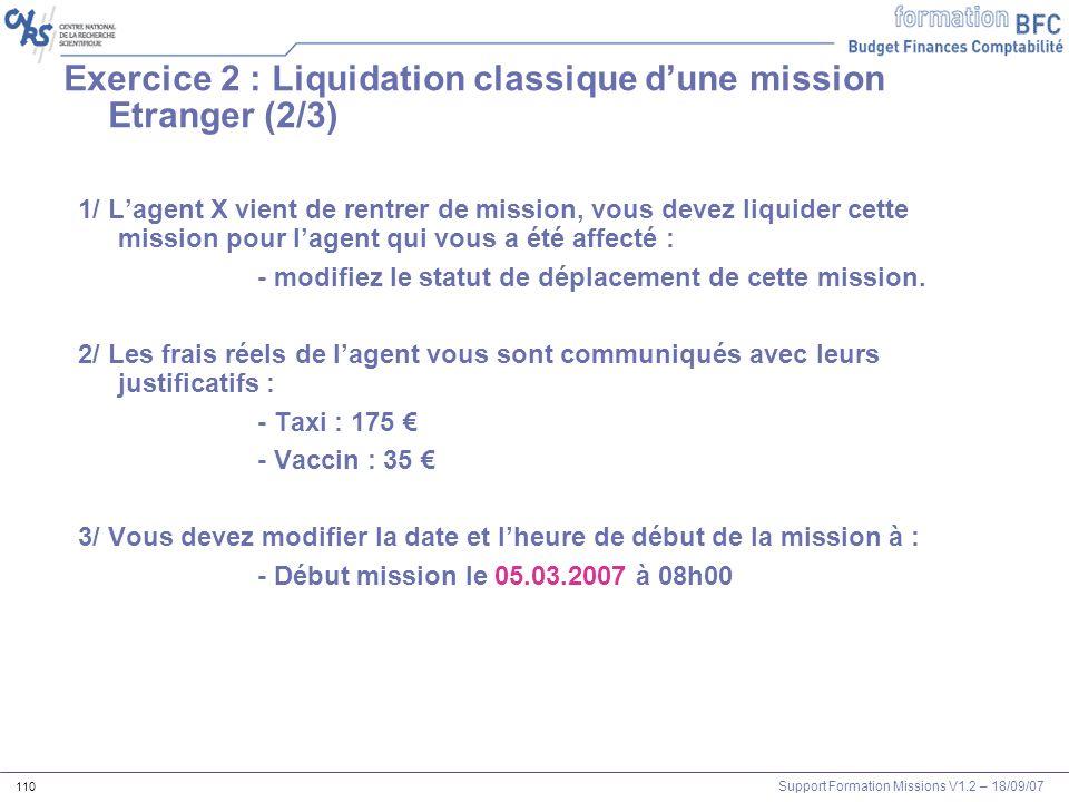 Exercice 2 : Liquidation classique d'une mission Etranger (2/3)