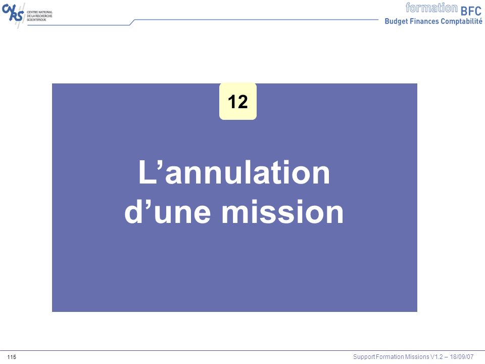 L'annulation d'une mission