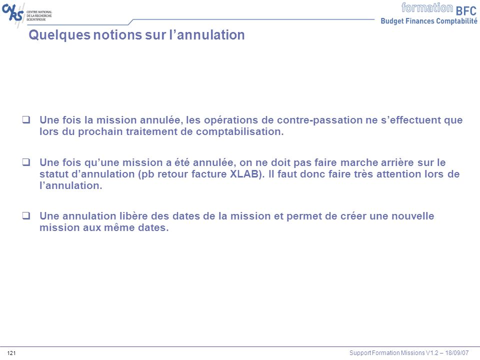 Quelques notions sur l'annulation