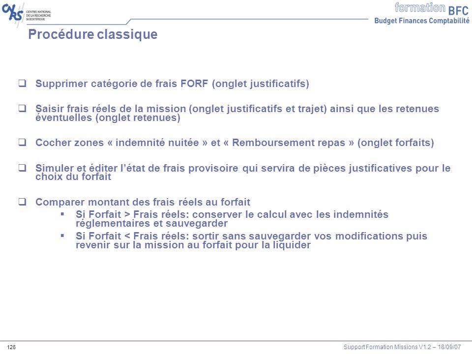 Procédure classique Supprimer catégorie de frais FORF (onglet justificatifs)