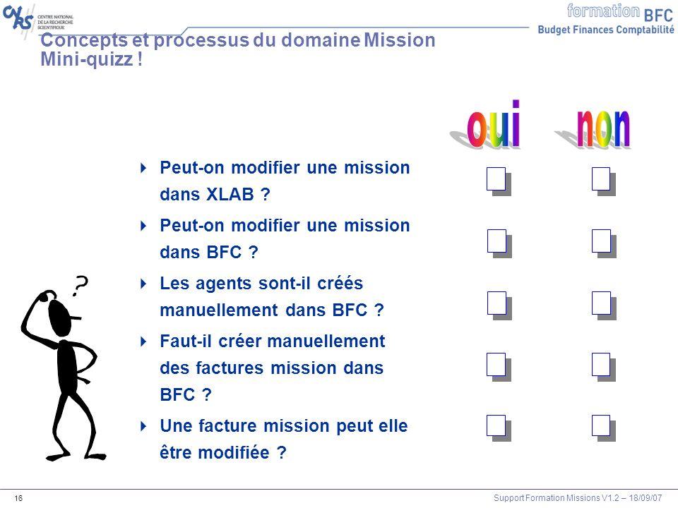 Concepts et processus du domaine Mission Mini-quizz !