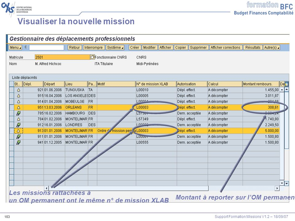 Visualiser la nouvelle mission