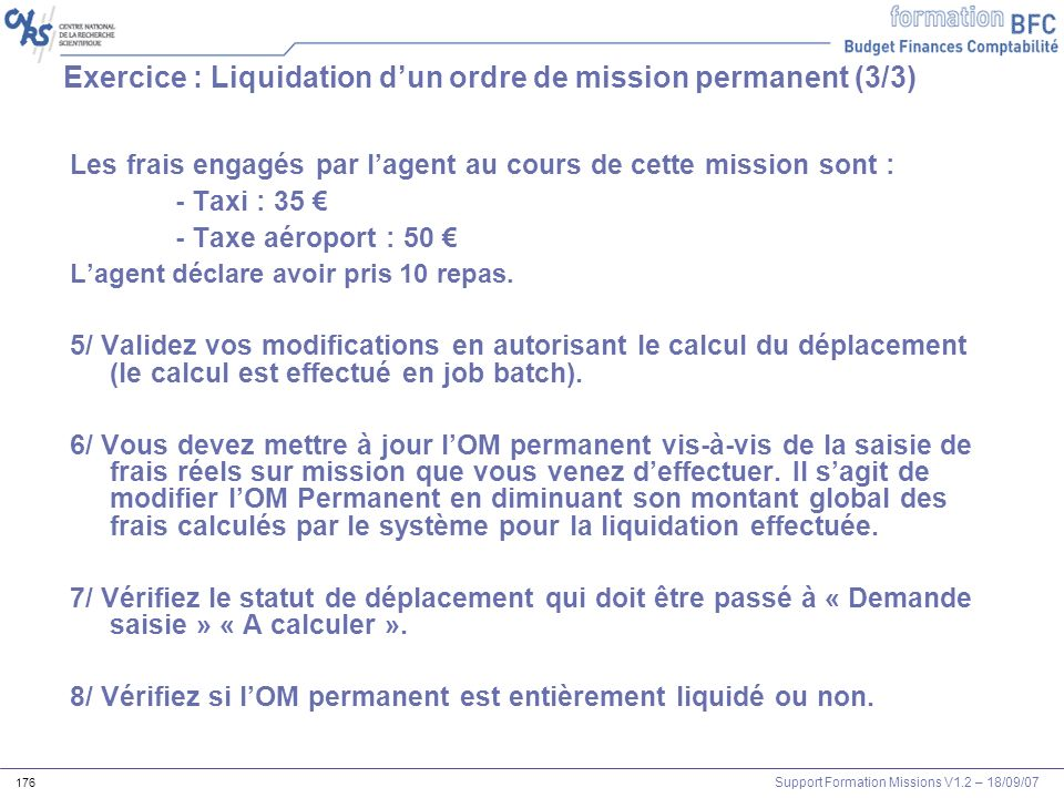 Exercice : Liquidation d'un ordre de mission permanent (3/3)