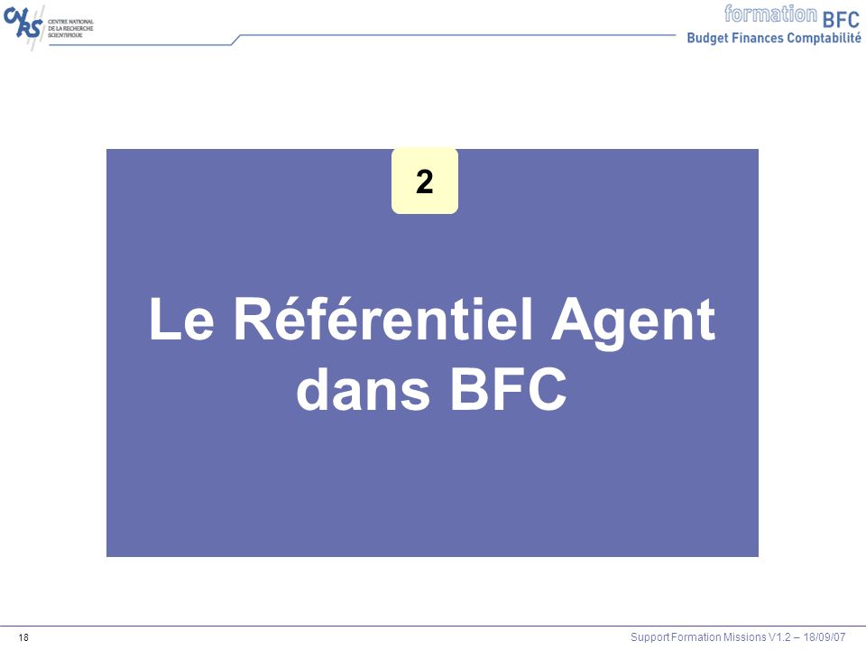 Le Référentiel Agent dans BFC