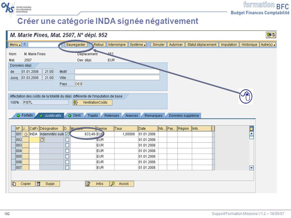 Créer une catégorie INDA signée négativement