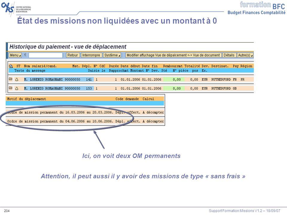 État des missions non liquidées avec un montant à 0