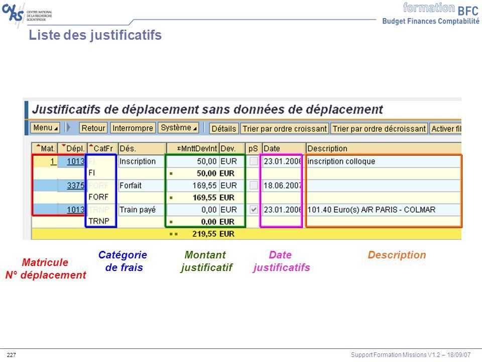 Liste des justificatifs