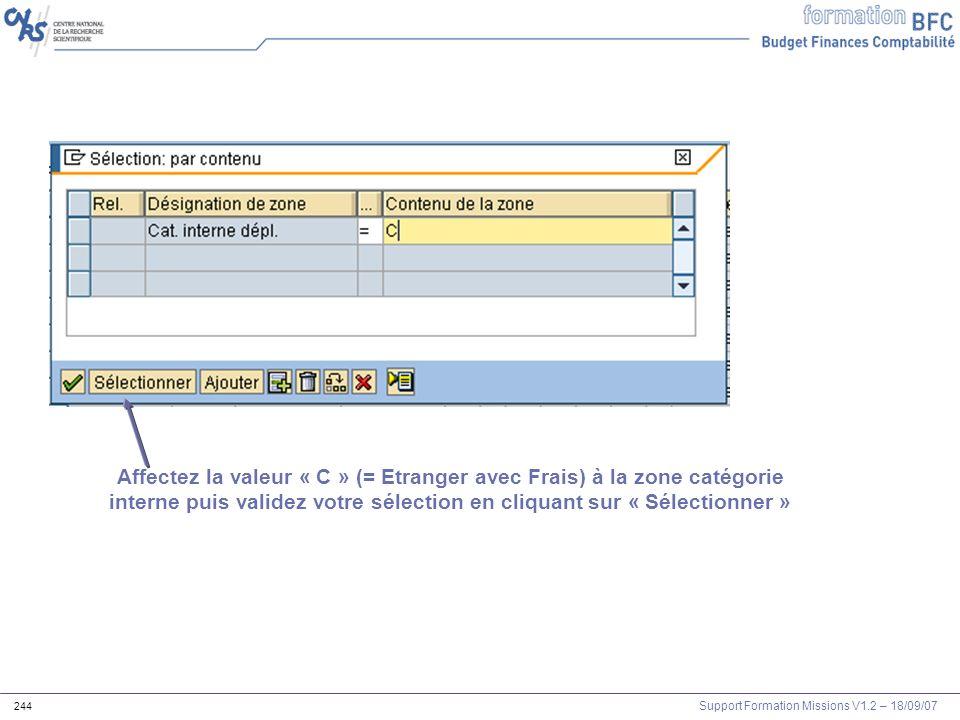 Affectez la valeur « C » (= Etranger avec Frais) à la zone catégorie interne puis validez votre sélection en cliquant sur « Sélectionner »