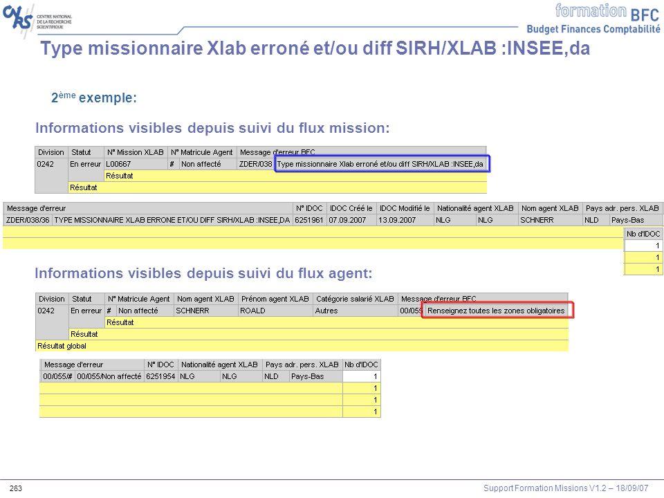 Type missionnaire Xlab erroné et/ou diff SIRH/XLAB :INSEE,da