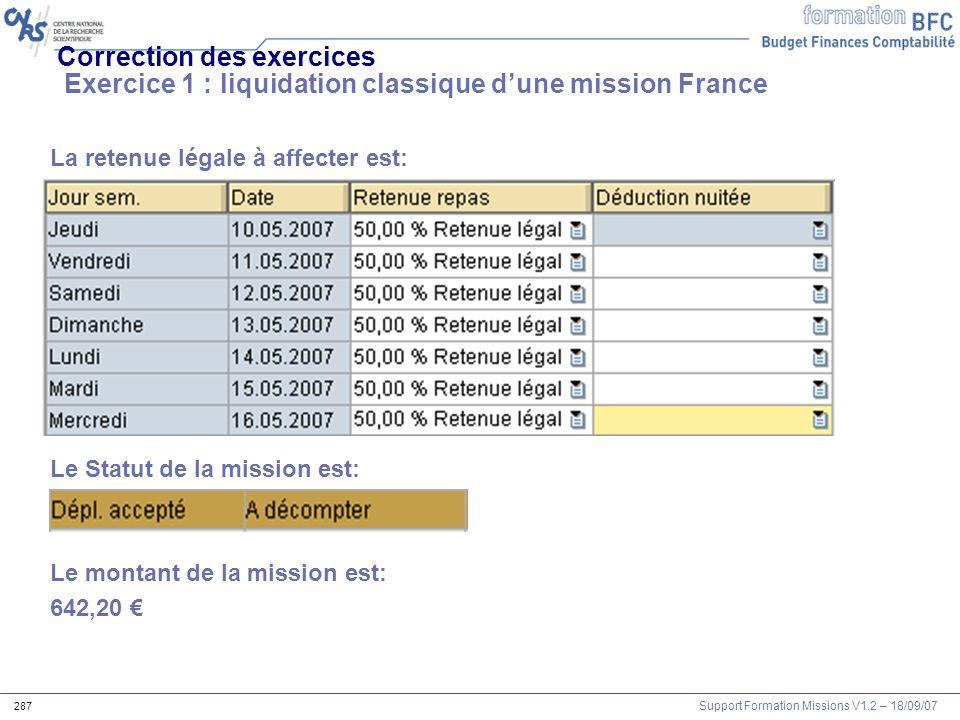 Correction des exercices Exercice 1 : liquidation classique d'une mission France