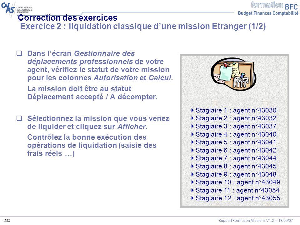 Correction des exercices Exercice 2 : liquidation classique d'une mission Etranger (1/2)