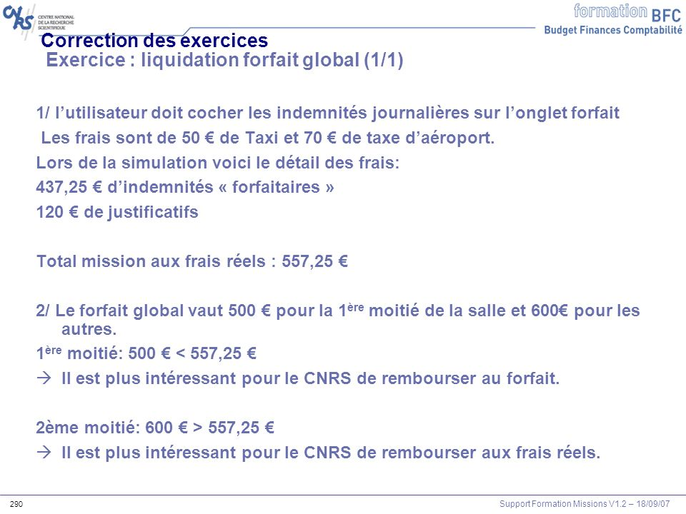 Correction des exercices Exercice : liquidation forfait global (1/1)