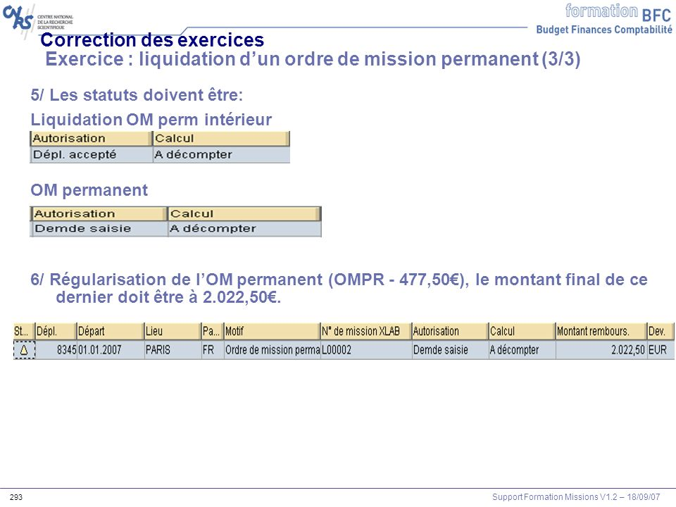 Correction des exercices Exercice : liquidation d'un ordre de mission permanent (3/3)