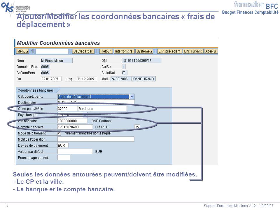 Ajouter/Modifier les coordonnées bancaires « frais de déplacement »