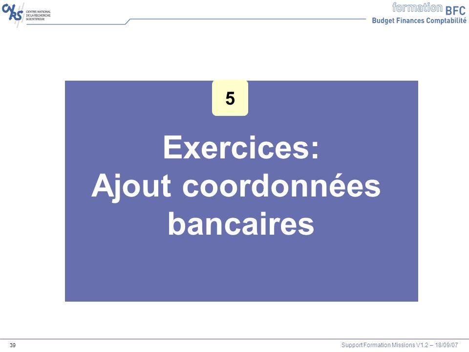 Exercices: Ajout coordonnées bancaires