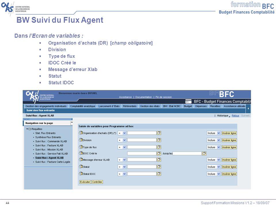 BW Suivi du Flux Agent Dans l'Ecran de variables :