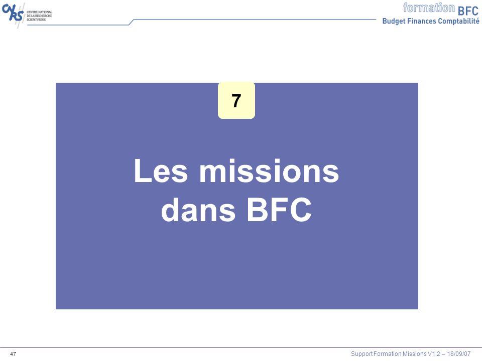 Les missions dans BFC 7