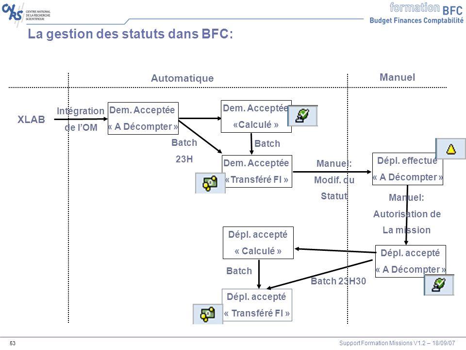 La gestion des statuts dans BFC: