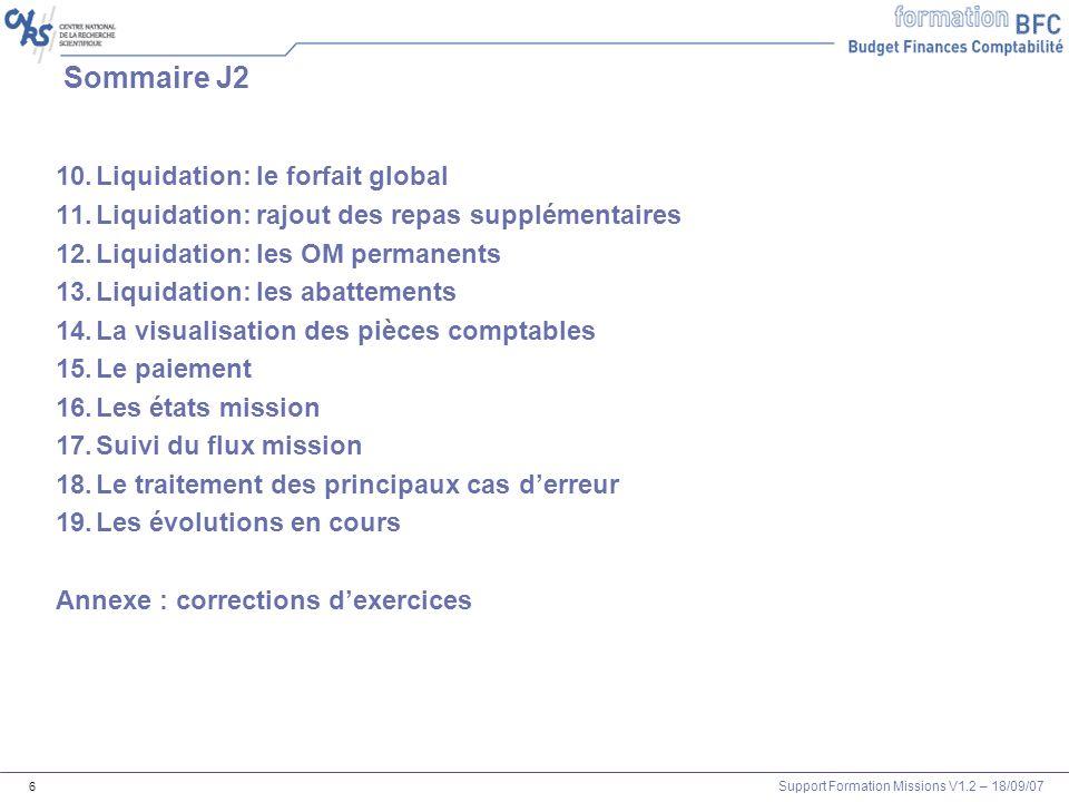 Sommaire J2 Liquidation: le forfait global