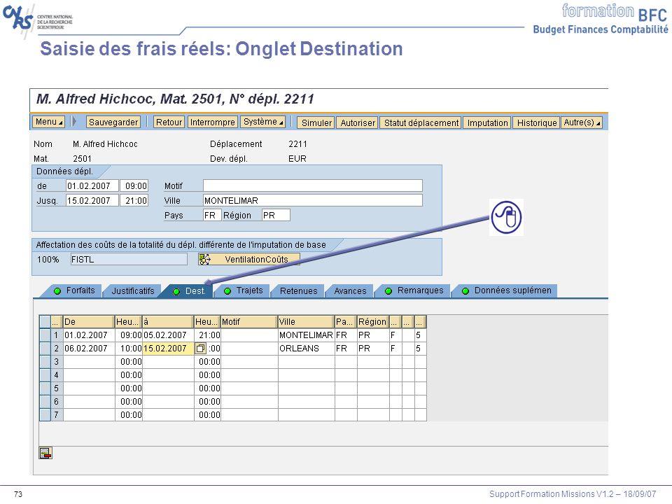 Saisie des frais réels: Onglet Destination