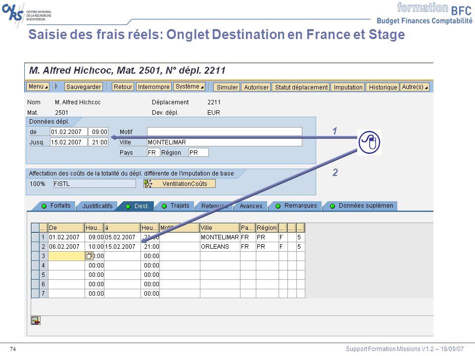 Saisie des frais réels: Onglet Destination en France et Stage