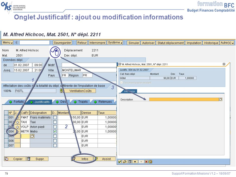 Onglet Justificatif : ajout ou modification informations